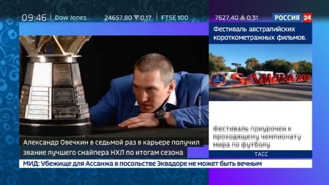 Новости на Россия 24 • Овечкину в седьмой раз в карьере вручили Морис Ришар Трофи