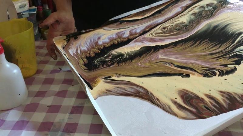 Acrylic pouring big canvas. Акриловая заливка0029