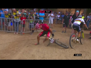 Sam Gazes intense sprint finish at UCI MTB XCO World Cup 2018 South Africa
