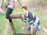 Worship eat dirty brown boots outdoor