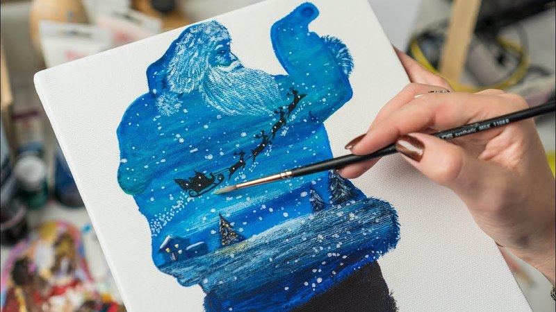 Multi-exposure of Santa Claus and New Year's Eve - Acrylic painting / Homemade Illustrations (4k)