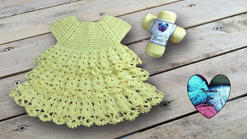 Vestido volantes todas las tallas tejido a crochet parte 1 de 2