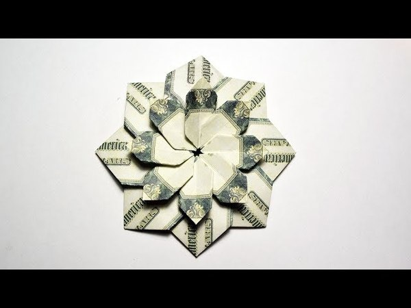 Wonderful Money FLOWER MANDALA Modular Origami Dollar bills Tutorial DIY Folding