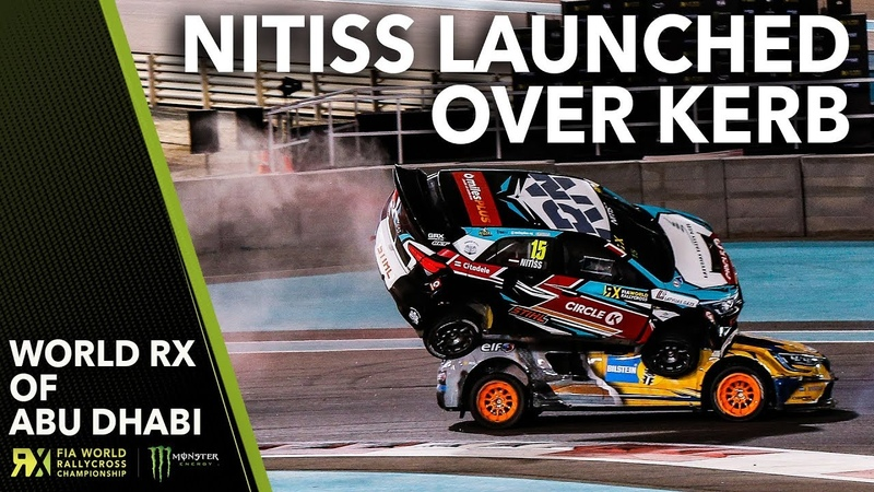 Nitiss Gets LAUNCHED Over the Kerb 2019 FIA World Rallycross Abu Dhabi
