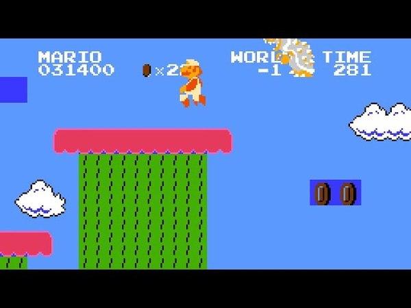 SMB minus world -1: Killing Bowser leads to inevitable crash