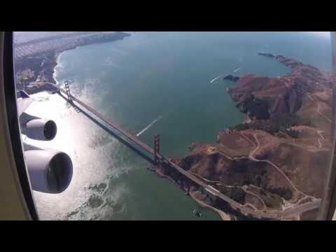 United 747 Farewell SFO Departure with Golden Gate Bridge Flyby