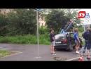 В Вологде Дэу Матиз снес светофор