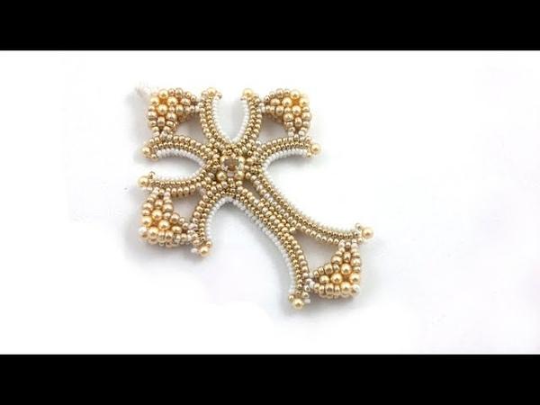 Beading4perfectionists : Mildred's Cross Herringbone CRAW beading tutorial