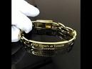 Браслет из жёлтого золота с гравировкой на замке с защёлкой. Вес 63,5г, арт. i4616