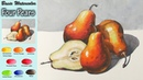 Basic watercolor Four Pears wet in wet Arches rough NAMIL ART