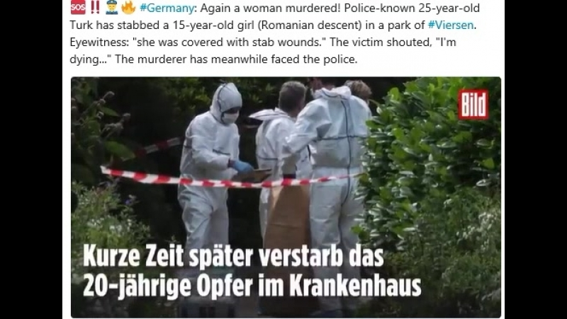 Germany: Again a woman murdered! Police-known 25-year-old Turk has stabbed a 15-year-old girl (Romanian descent) in a park of V