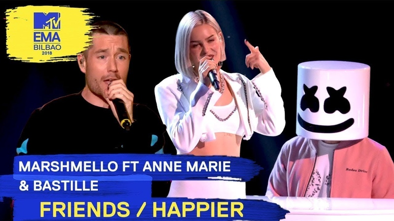 Marshmello Ft. Anne-Marie Bastille - FRIENDS / HAPPIER | 2018 MTV EMA Live Performance
