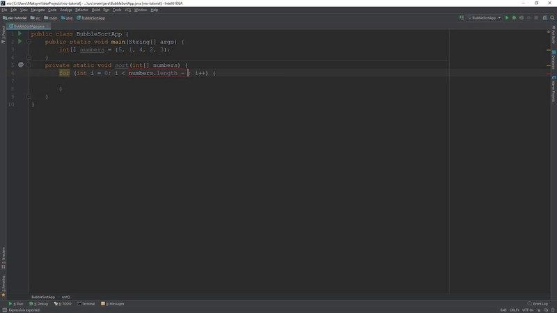 Bubble Sort - Сортировка пузырьком на Java