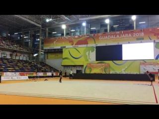 Дина Аверина - лента (опробование) // Чемпионат Европы 2018, Гвадалахара