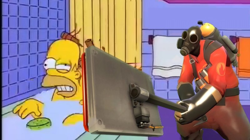 Homer gets hit by a chair but it's Team Fortress 2