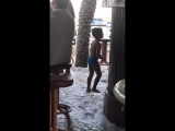 Boy dancing under Spaceman in Cyprus