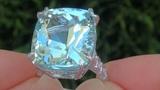 ESTATE 25.89 Carat Aquamarine Diamond 18k White Gold Vintage Ring Certified TOP GEM