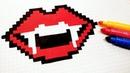 Halloween Pixel Art - How To Draw Vampire Lips pixelart