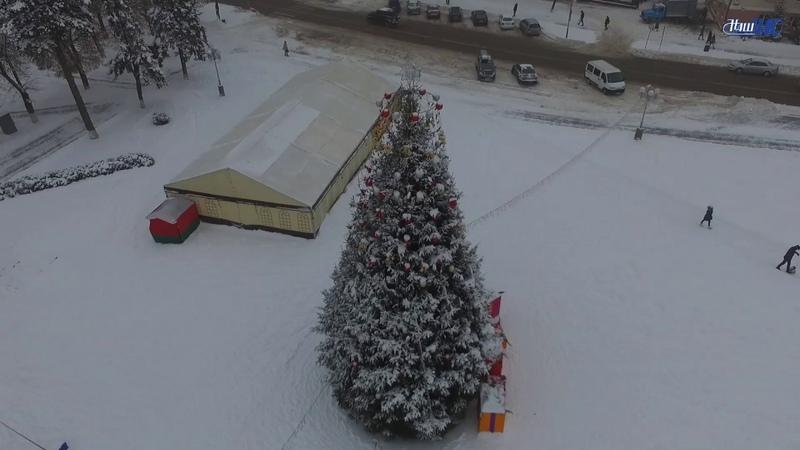 Новогодний полет. Как выглядит главная волковысская ёлка с высоты