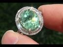 GIT Certified Natural Copper Bearing Green Tourmaline Diamond 14k Gold Ring A141729