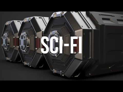 Sci-fi container Cinema 4D hard surface 3
