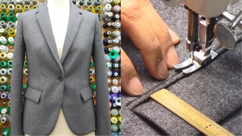 ジャケットの作り方・縫い方 Part3 「ダーツ フラップ玉縁ポケット 表身頃後ろベンツ」 How to sew a jacket tutorial