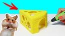 ДОМ ДЛЯ ХОМЯКА 🐹 РИСУЮ КЛАДОВУЮ В ВИДЕ СЫРА 3D РУЧКОЙ ДОМ ДЛЯ ХОМЯКА DIY 24 часа челлендж