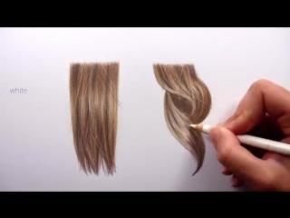 подробное видео рисуем каштановые прямые и кудрявые волосы цветными карандашами