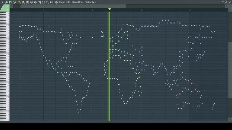 Контур карты мира на Piano Roll