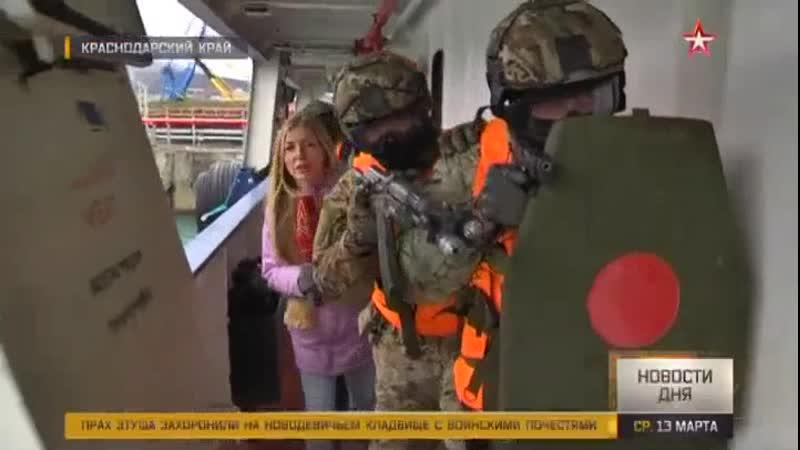 Штурм захваченного «террористами» танкера кадры работы группы захвата в Новороссийске