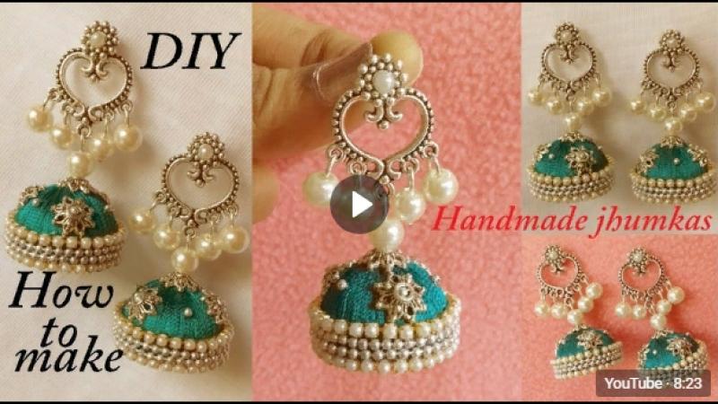 DIY __ how to make designer silk thread jhumka earrings at home __ Chandbali Ear