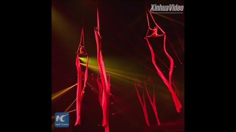 Захватывающее шоу китайских акробатов в городе Пуян провинции Хэнань