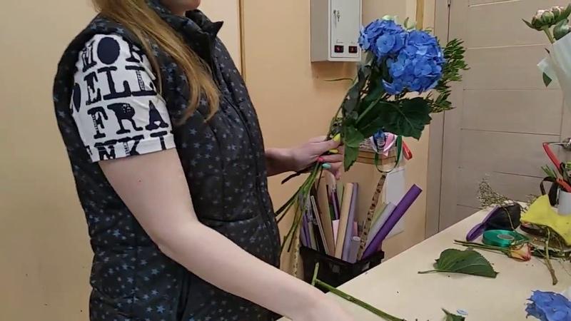 Букет для знака зодиака Рак, часть1, мастер класс, обучающее видео по флористике.