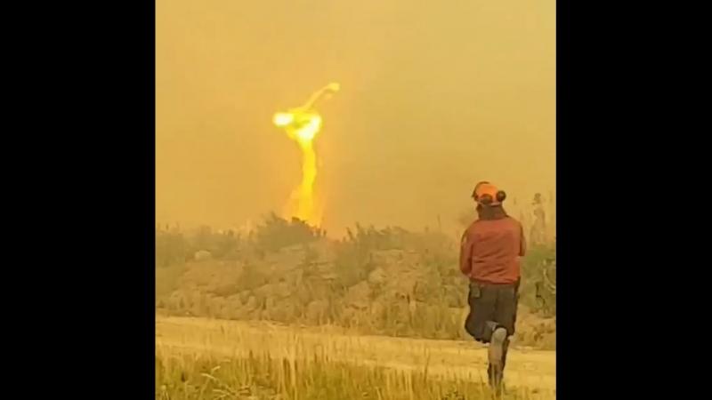 В Канаде у пожарных, приехавших на пожар, торнадо отобрал шланг и только в 3-м они смогли его вернуть