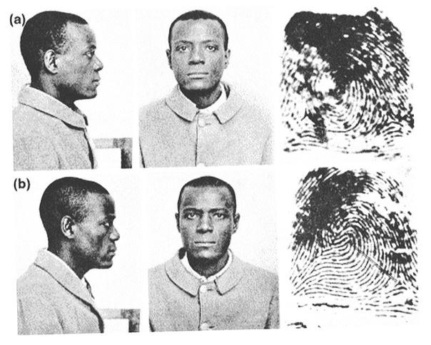 Интересная история: Почему у преступников снимают отпечатки пальцев В 1903 году заключенный Уилл Вест прибыл в тюрьму Leavenworth. Служащий, сделавший фотографию Веста, сказал, что помнит его, и