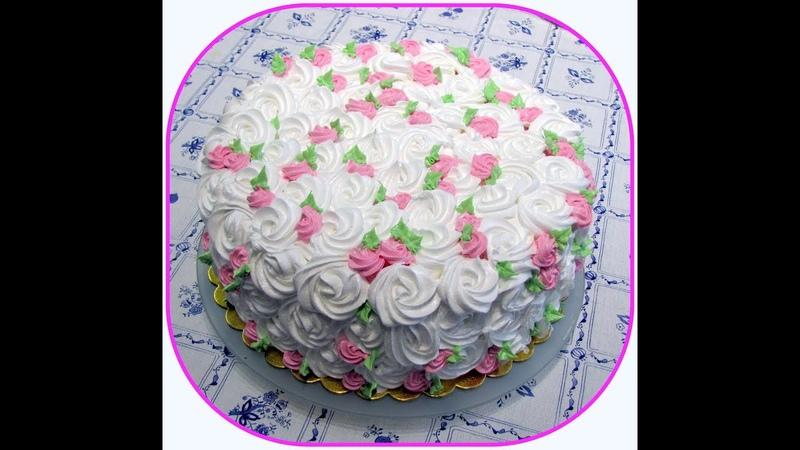 Очень быстрое оформление торта кремом.