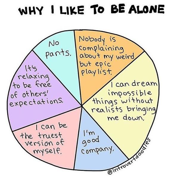 почему я люблю быть одна: • никаких штанов. • никто не жалуется о моём странном, но эпичном плейлисте.• я могу мечтать о невероятных вещах, и рядом не будет реалистов, чтобы меня осадить.• я