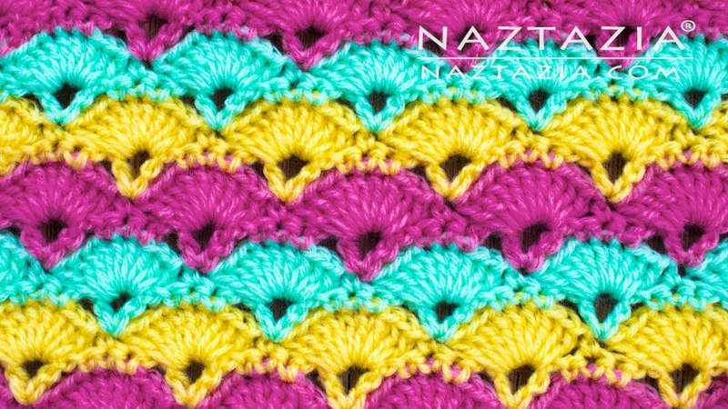 How to Crochet Offset Shell Stitch by Naztazia - Good for Blanket Scarf