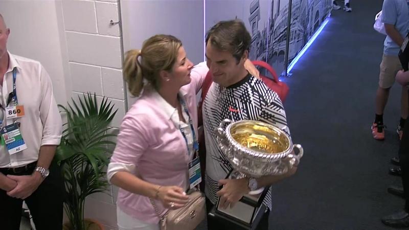Roger Federer celebrates with Mirka Australian Open 2017