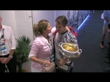 Roger Federer celebrates with Mirka Australian Open 2017