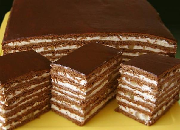 Безумно вкусный медово-шоколадный торт с орехами