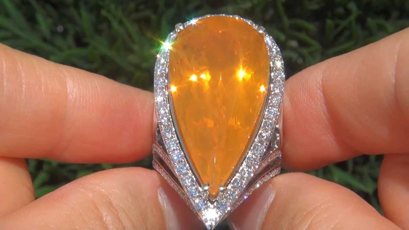 Beverly Hills Estate Ring - HUGE 24.62 Carat Natural Mexican Fire Opal Diamond Ring