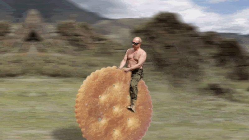 Vladimir Putin Rides Ritz Cracker through the wilderness for 7 minutes to psychadelic music