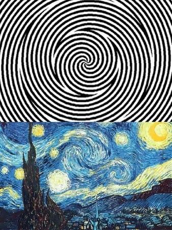 Сперва смотрим на белую точку в течении 10 секунд, затем на картину Ван Гога/look at the white dot for 10 seconds, then the picture · coub, коуб