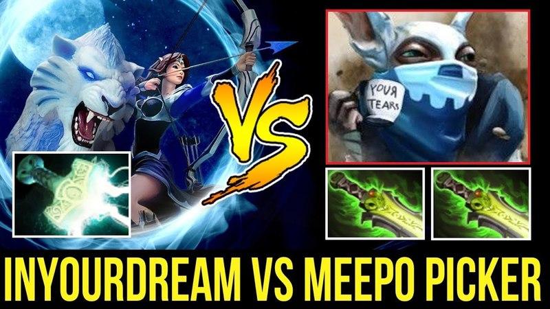 Inyourdream Right Click Mirana vs Double Ethereal Blade Meepo Picker Dota2