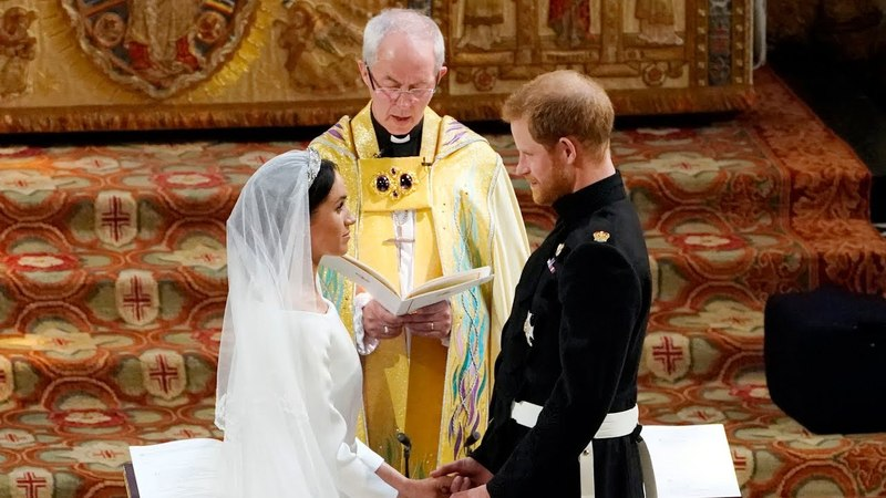 The Royal Wedding: The Archbishop leads the vows and the giving of the rings