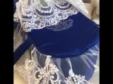 Люлька-переноска для новорождённого Роскошь, синяя с кружевом