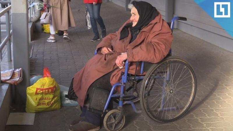 Бездомная бабушка продаёт цветы и отказывается от милостыни