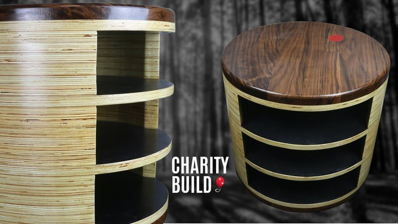 Cylindrical Plywood Walnut Side Table - The Oreo Table - Charity Build