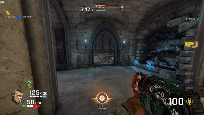 Quake Champions Ranger vs Nightmare bots [bottom denviper gameplay]